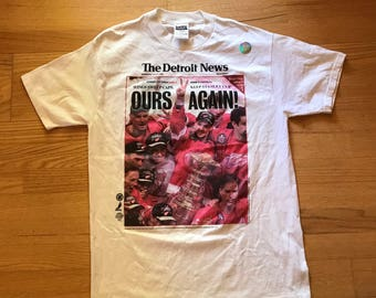 Vintage UNWORN Detroit Red Wings 1998 Stanley Cup Champions NHL T-Shirt Mens Size XL