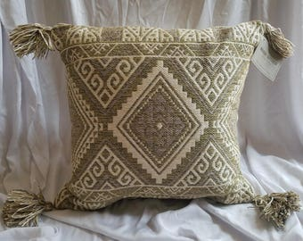 Tribal Print Toss Pillow by World Market .. NWT (Indoor/Outdoor) Ikat, Tribal, Tassels, Throw Pillow, Dhurrie