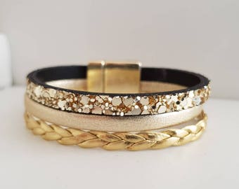 LEATHER magnetic clasp gold tone Cuff Bracelet