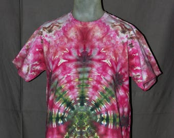 Handmade Pot Leaf Ice Tie-Dyed T-Shirt: Large