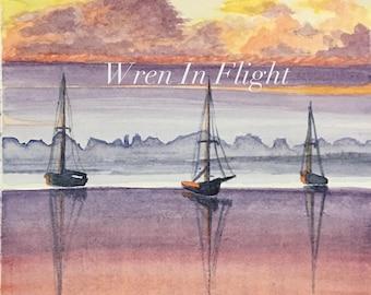 Boating at Dawn - Original Watercolor Artwork - Multiple Sizes