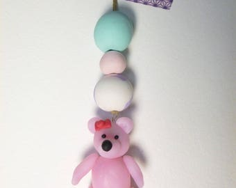 Pink Teddy bear polymer to hang