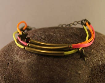 Neon yellow, pink and orange polyester wax cord bracelet