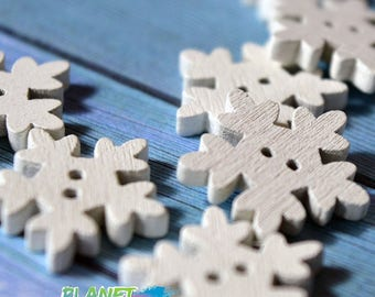 Wooden buttons snowflake cold winter ice frost christmas Haberdashery Sewing Crafts scrapbooking White button
