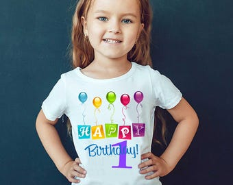 Happy birthday Color Balloons. Kids fashion tees for birthday party.