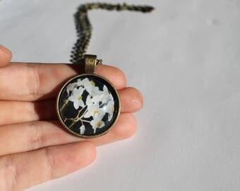 White Flowers Photo Pendant Necklace
