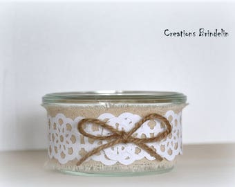 Linen and lace candle paper wedding anniversary decoration