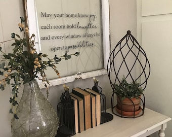 May your home know joy vintage window sign