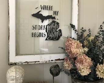 Where my Story Begins Vintage Window Sign