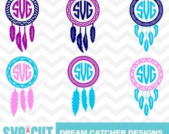 Dream Catcher SVG Cut File, Dream Catcher Monogram, Whimsical SVG Cut File for Cameo and Cricut, Boho Design, Dream Catcher Vector, svg-034