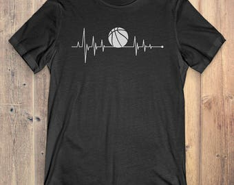 Basketball T-Shirt Gift: Heartbeat Basketball