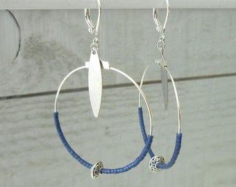 Silver Creole, miyuki beads Blue Navy