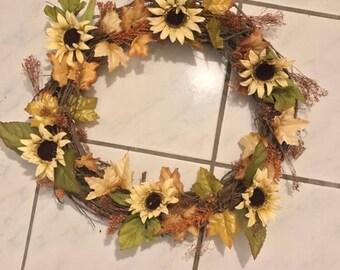 Autumn & Fall Sunflower Wreath