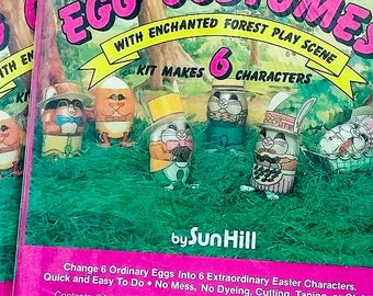 1985 Vintage Easter Egg Costume Decoration Enchanted Forest Diorama Egg Art Kit - Yippy Skippy