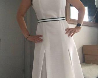 Vintage White 1950s 1960s Belted Boating Dress