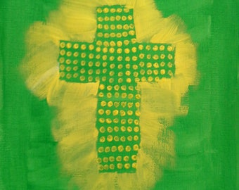 Prayer is Powerful: Painting of the cross with dot art with hues of yellow and green