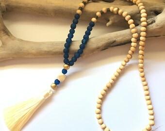 Beige tassel Mala necklace / boho necklace Natural zen stone lass brown wood beads tassel Bohemian black