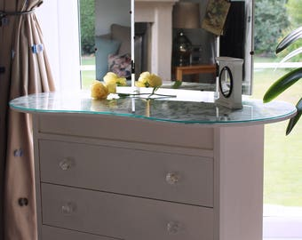 Mirrored Art Deco Kidney Shaped Dressing Table in Antique White with Hand Painted Floral Top