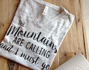 the mountains are calling shirt, ladies t shirt, womens tees, womens t shirts, t shirts for women, graphic tees for women, ladies clothing,