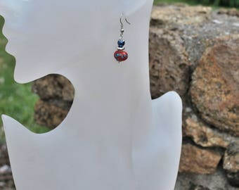 """Earrings """"Red and blue"""""""