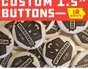 "100 Custom 1.5"" Buttons Pin Backs Punk Rock Indie Bands Musicians"