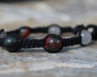 Bloodstone Hemp Bracelet, Protection Gemstone, Intuition, Creativity, Luck, Detoxify, Revitalize, Energy Healing, Meditation Bracelet
