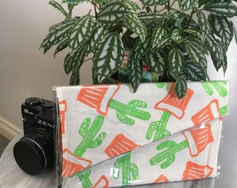 Cacti- Linoprinted Clutch