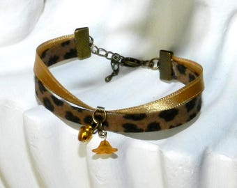 Bracelet ethnic chic beige and bronze Panther