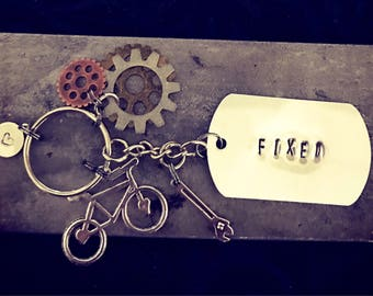 "Hand stamped ""Fixed"" Keychain"