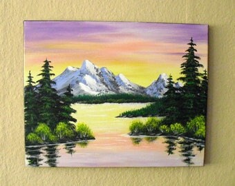 Oil painting in the style of Bob Ross Mountain Lake landscape paintings image decoration