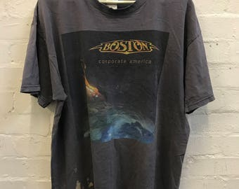 Vintage 2000's BOSTON Band Corporate America Concert Tee Distressed Destroyed T-shirt