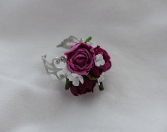 Silver filigree ring, bouquet of peonies