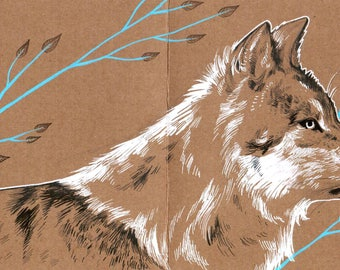 Hand drawn original wolf postcard