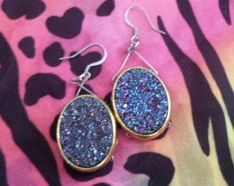 Purple druzy stone earrings