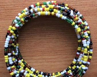 Funky Rainbow Beaded Bracelet - Handmade in Kenya