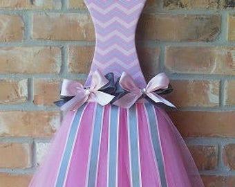 Pink & Gray Chevron Tutu Hair Bow Holder Wall Decor