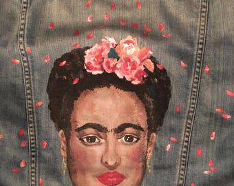 Roses and Many Petals Frida Kahlo Hand-painted Denim Jacket : ** Made to Order**