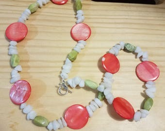 Coral, lime and white bead necklace