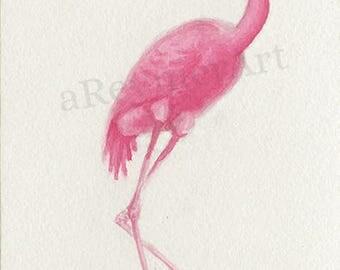 Original illustration series flamingo (n = 8/8) 10 X 15 cm