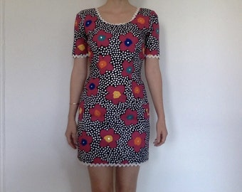 mod floral vintage dress with rhinestones