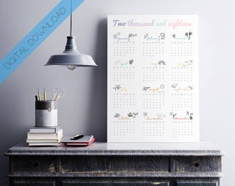 2018 Wall Planner DIGITAL DOWNLOAD Calendar 2018 Year Planner - Doodles | Hand Drawn Monthly Planner | 2018 wall calendar | PRINTABLE