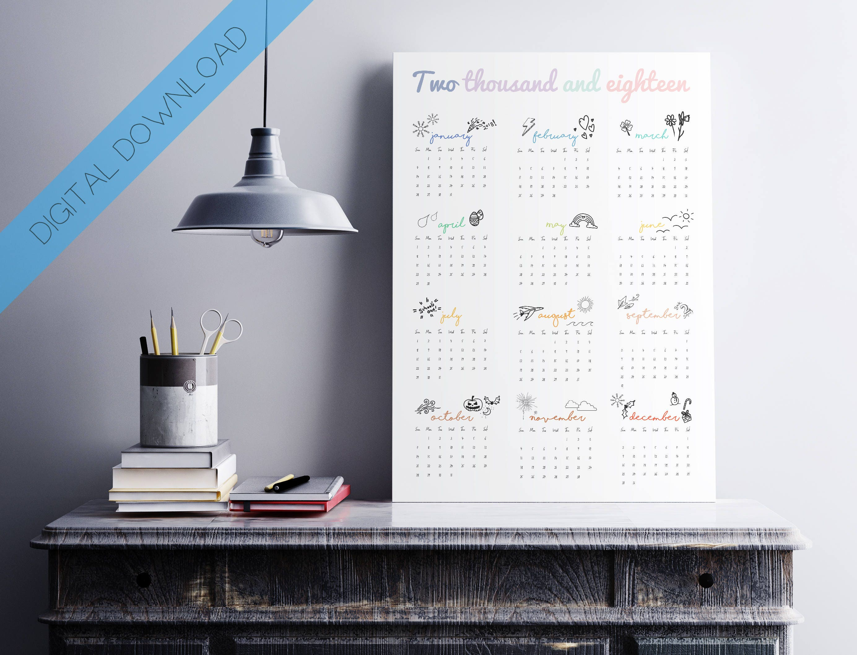 2018 wall planner digital download calendar 2018 year planner doodles hand drawn monthly