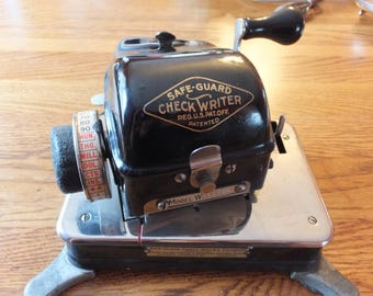 Antique Working Safe-Guard Desktop Check Writer Model W
