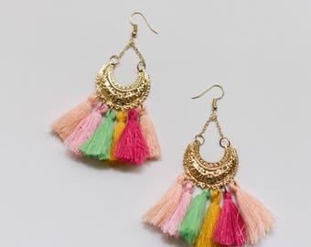 Multicoloured tassel earrings, Tassel earrings, Statement tassel earrings, Hoop tassel earrings, Tassel hoop earrings, Statement earrings