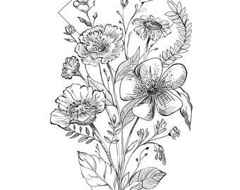 Black and White Wildflower Art