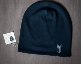 Dark blue unisex beanie hat Slouchy jersey beanie with cotton lining Autumn/spring hat for women/men/teen Scull hat for outdoor activity