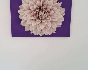 Large silk Dahlia on purple canvas - wall art.