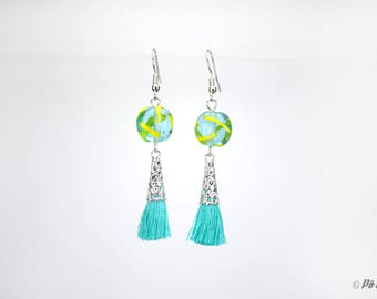 Earrings with dots and turquoise tassel #0978
