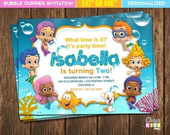 SALE!! Bubble Guppies Invitation, Bubble Guppies Invite, Digital Birthday Invitation for Children, Printable Card, Custom Invite - Cheer-01