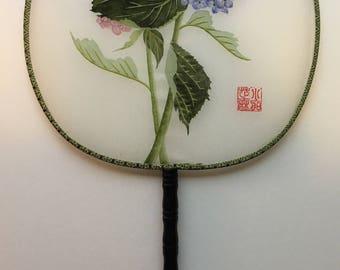 hand-painted silk fan, hydrangea